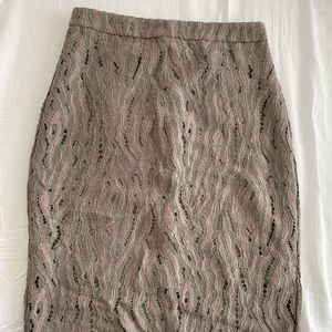 Marciano nude lace pencil skirt